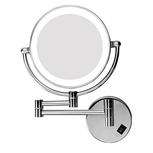 Excelvan LED Lighted Double Sided Swivel Vanity Makeup Mirror with 7x Magnification, 8 inches for 360 Degree Swivel Design, Chrome Finish