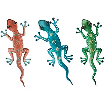 HANDCARVED Custom Wood Geckos with Colorful Flower Design Wall Decor with Wall Hanger 2 All Seas Imports Set of