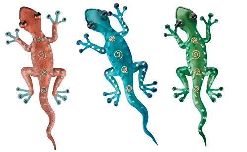 Regal Art & Gift Gecko Decor, Set of 3, Bundle of Blue, Green and Copper Geckos - Gecko Wall Decor