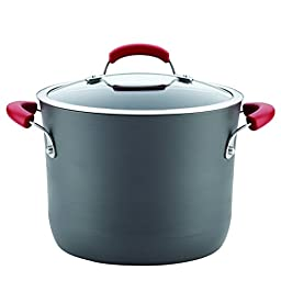 Rachael Ray 82722 8 quart Gray with Handles Hard-Anodized Aluminum Nonstick Covered Stockpot, Medium, Red