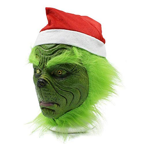 Ochine Grinch Mask with Red Santa Hat - Latex Full Face Mask Costume for Halloween and Christmas - http://coolthings.us
