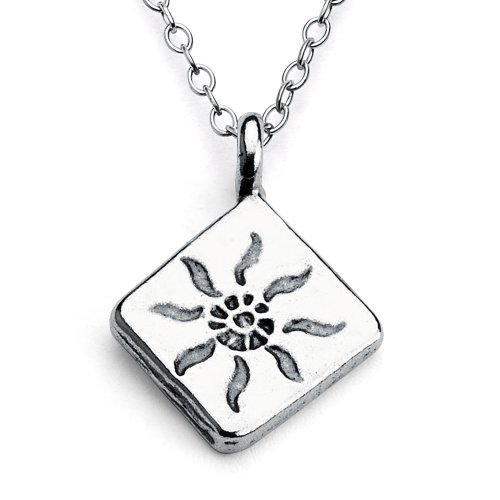 925 Sterling Silver Shining Sun Diamond 2-sided Charm Pendant Necklace (24 Inches)
