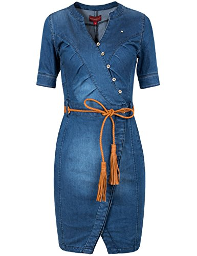 Tanming Women's Wrap V Neck Button Front Belted Midi Denim Pencil Dress (Small, Blue)