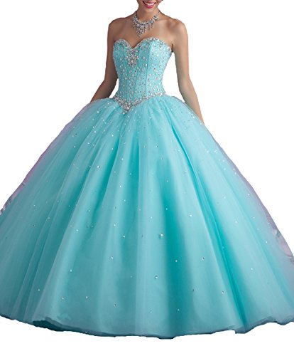 Elley Women's Sweetheart Crystals Strapless Sweep Train Tulle Sweet Sixteen Party Wedding Ball Gown Quinceanera Dress Aqua US8 (Train Sweep Design)