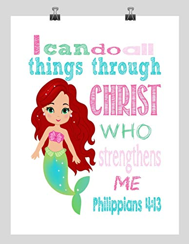 Ariel Mermaid Princess Inspirational Nursery Decor Art Print - I Can Do All Things Through Christ Who Strengthens Me - Philippians 4:13