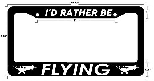 URCustomPro I'd Rather Be Flying Pilot Airplane Cessna #2 Black License Plate Frame Stainless Steel License Plate Cover Holder Auto Car Truck Plate Frame 2 Holes and Screws
