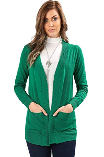 Ribbed Green Kelly (Sportoli Cardigans for Women Open Front Knit Long Sleeve Pockets Sweater Cardigan -Kelly Green (Large))