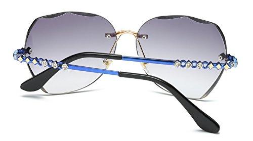 borde solares mujer VOLCHIEN sin Para Lens Grey diamante gafas Arm Blue qBfat