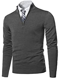 Men's Classic Zip Up Mock Neck Basic Sweater Top