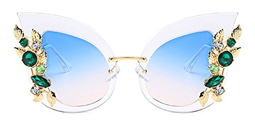 Slocyclub Womens Overstated Cat Eye Jeweled Sunglasses Stylish Design with - Eye Cheap Online Glasses Cat