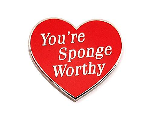 Pinsanity Red Heart You're Sponge Worthy Enamel Lapel Pin]()