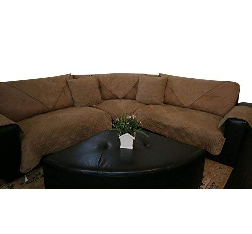 "OctoRose Quilted Micro Suede Sectional Sofa Throw Pad Furniture Protector Sold By Piece Rather Than Set (camel, 35x82"")"