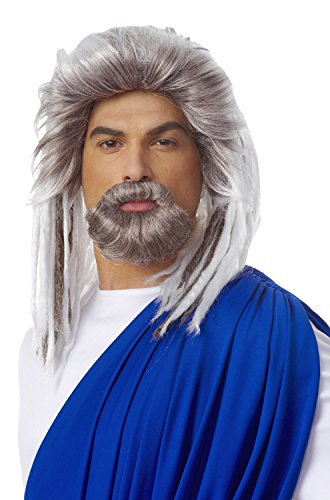 Costume Culture Men's King Of The Sea Wig and Beard Set Deluxe, Grey, One Size ()