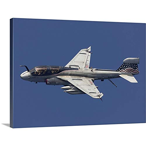 GREATBIGCANVAS Gallery-Wrapped Canvas Entitled an EA-6B Prowler in Flight Over The Arabian Sea by Gert Kromhout 48