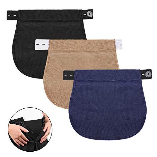 Accmor Maternity Pants Extender, 3 Packs Elastic Waist Extender for Pregnancy, Adjustable Pregnancy Waistband Extender Trouser Extender for Pregnancy Women