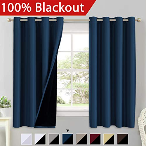 100% Blackout Curtains 63 Length Thermal Insulated Energy Saving Lined Curtains Faux Silk Satin with Black Liner Window Treatment Panels Drapes, Double Layer and Thick, Grommet Top, Navy Blue