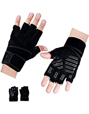 Workout Gloves, Fitness Exercise Ventilated Gloves with Wrist Support for Weight Lifting, Gym, Pull up,Training, Breathable & Snug fit, for Men & Women