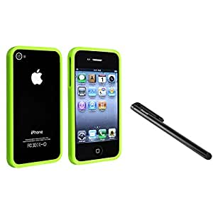 Insten® Green Shinny TPU Rubber Bumper Case Cover+Stylus Pen Compatible With iPhone® 4 4G 4S
