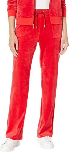 Juicy Couture Womens Glitter - Juicy Couture Women's Glitter Plastisol Bootcut Velour True Red X-Large 31.5