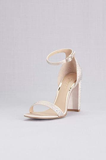 David s Bridal Satin Crystal Ankle Strap Sandals with Block Heel Style  JWKARAH