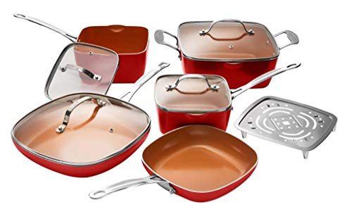 Gotham Steel 10-Piece Square Kitchen Set with Non-Stick Ti-Cerama Coating- 25% More Cooking Space than Round - Includes Skillets, Fry Pans, Stock Pots and Steamer, As Seen on TV - Red