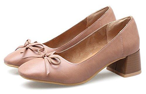 Aisun Womens Vintage Décontracté Coupe Décontractée Bloc Habillé Mi-talon Orteil Carré Slip On Pumps Chaussures Avec Noeud Rose