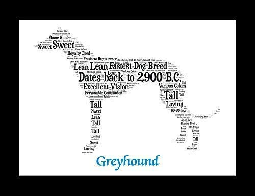 Greyhound Dog Wall Art Print - Personalized Pet Name - Gift for Her or Him - 11x14 matted - Ships 1 Day - Greyhound Dog Pictures