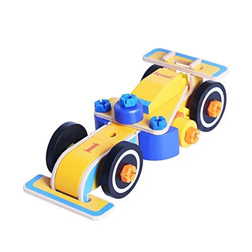 iwood DIY Formula 1 Assembly Racecar Toys Take-A-Part Toy Car Construction Toy Set Constructions Set Build Your Own Toy Race Car Toy Construction Playset