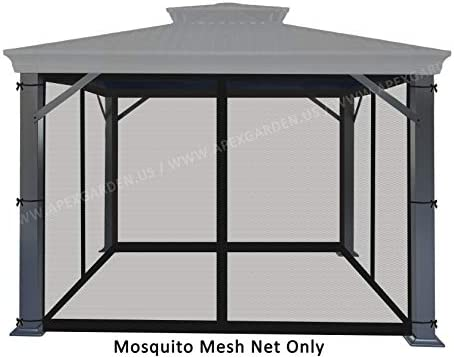 APEX GARDEN Universal 10 x 10 Gazebo Replacement Mosquito Netting Mosquito Net Only, Size 10 ft x 10 ft Black