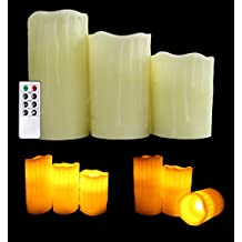 Flamelss LED Beeswax Pillar Candles - 3pc Set - High Quality