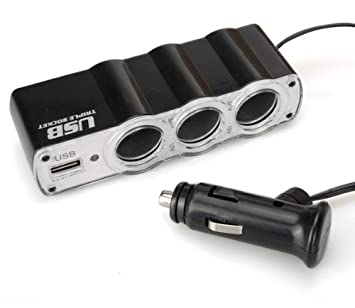 Ladron mechero coche triple 3 salida USB cargador telefono ...