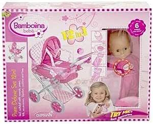 Bambolina Pram Deluxe Set 12-in-1 Model (BD9317-104-WB)