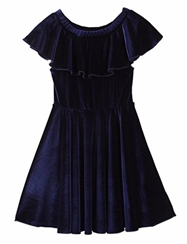 Ameyda Baby Little Girls Vintage Solid Velvet Swing Dress For Evening Party,US 4