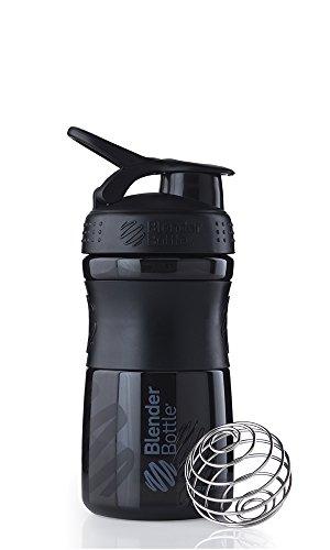 BlenderBottle Sportmixer Shaker (Fassungsvermögen 590ml, skaliert bis 500ml) - schwarz/schwarz, 1er Pack (1 x 151 g)