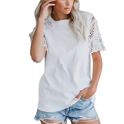 QIQIU Lace O Neck Tops Women's 2019 Tassel Hollow Out Short Sleeve Popular T-Shirt Blouse Tee White