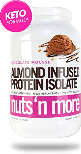 Nuts N More Chocolate Mousse Almond Infused Protein Isolate Powder, Keto, Low Carb, Low Sugar, Gluten Free, All Natural Sports Nutrition, 2.1 LBS