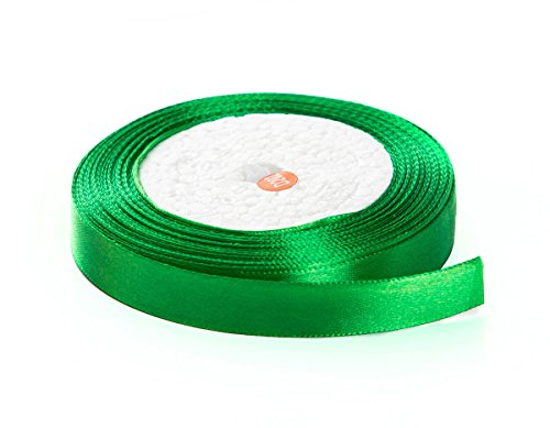 Solid Color Satin Fabric Ribbon for Craft, Gift Wrapping, Hair Bow, Wedding Deco … (Green, 3/4