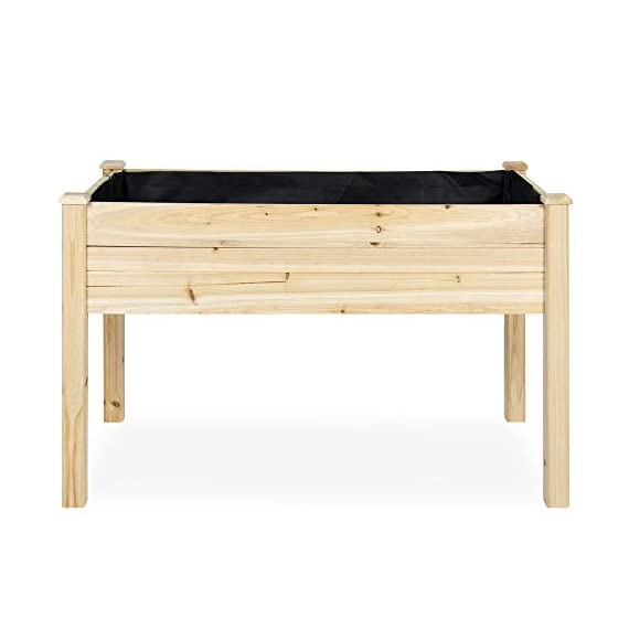 Best Choice Products 46x22x30in Raised Wood Planter Garden Bed Box Stand for Backyard, Patio - Natural 4 SPACIOUS GARDENING BED: Designed with a nearly-4-foot-long bed deep enough to ensure your plants and vegetables can breathe and grow healthy DURABLE COMPOSITION: Made of 0.75-inch-thick, weather-resistant Cedar wood, this bed is built to last through the seasons ERGONOMIC STRUCTURE: Stands 30 inches tall, making it perfect for those who struggle to bend down or lean over while gardening