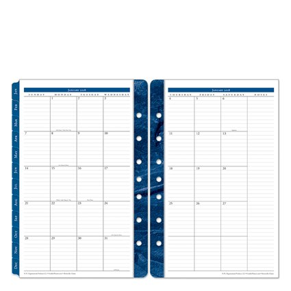 Classic Monticello Two Page Monthly Ring-bound Tabs - Jan 2018 - Dec 2018 (Monticello Monthly Planner Refills)