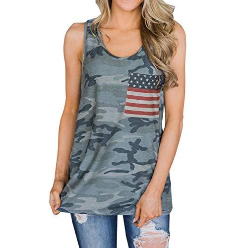 Womens Patriotic American Flag Print Summer Sexy Sleeveless T-Shirts Tank Top (XL, Camo)