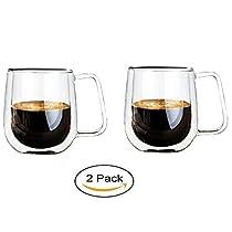 Vicloon Cafissimo Espresso LatteGlastassen,Doppelwandig Kaffee- Tee-Glas,Macchiato Tassenset Glas