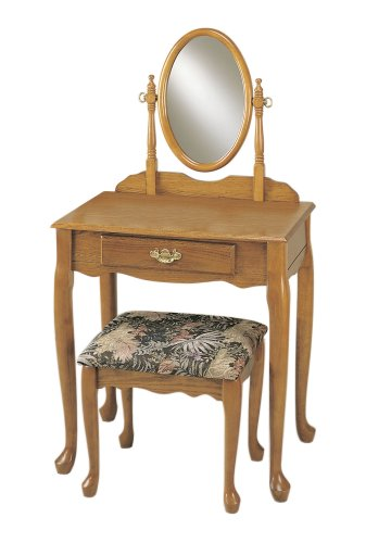 Bench Powell Brass - Powell Nostalgic Oak Vanity, Mirror, and Bench Set