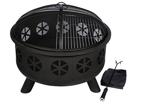 Hio 30 Inch Outdoor Fire Pit With Spark Screen Steel