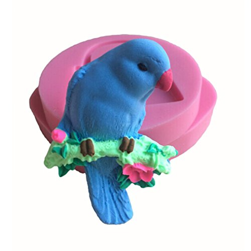(FLYMOR 3D Silicone Mold Parrot Shaped DIY Cake Decorating Tools,Pink)