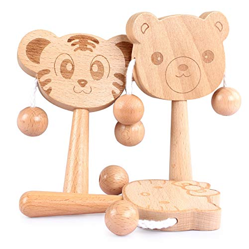 ZJHZN 3pcs Let's Make Baby Toys Beech Wood Bear Hand Teething Wooden Ring Can Chew Beads Baby Rattles Play Gym Stroller Toys