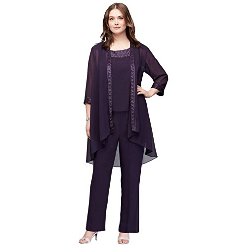 David's Bridal Chiffon Plus Size Pantsuit with High-Low Jacket Style 25799, Eggplant, 18W