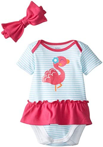 Gerber Baby-Girls Newborn Flamingo Skirted Onesie with Headband