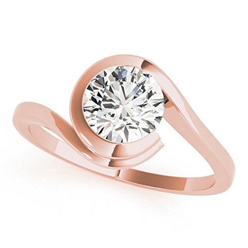 Women's Brilliant Round-Cut Solitaire Tension Set Diamond Engagement Ring 18k Rose Gold - Tension Brilliant Diamond Ring Round