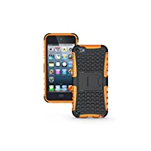 Touch 5 Case,Touch 6 Case -Lantier iPod 5 2 in 1 TPU+PC Layer Hard and Hybrid Armor Combo Cover Case with Build-in Stand for Apple iPod Touch 5 5th Generation,Touch 6 6th Generation Orange