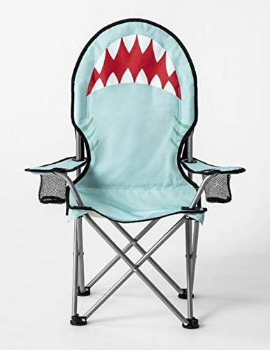 Sun Squad Kids Beach Chair! Foldable Children's Chair for Camping, Tailgates, and Outdoor Events! Kids Folding Chair with Handy Cup Holder and Carrying Bag! Choose Your Kids Chair Design! (Shark) by Sun Squad